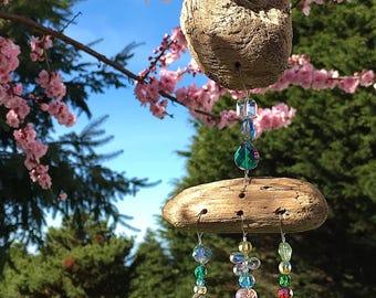 Driftwood Mobile, Beaded Sun Catcher, Glass Mobile, Suncatcher, Glass Art, Yard Ornament, Hanging Mobile, Yard Art, Home Decor, 8897