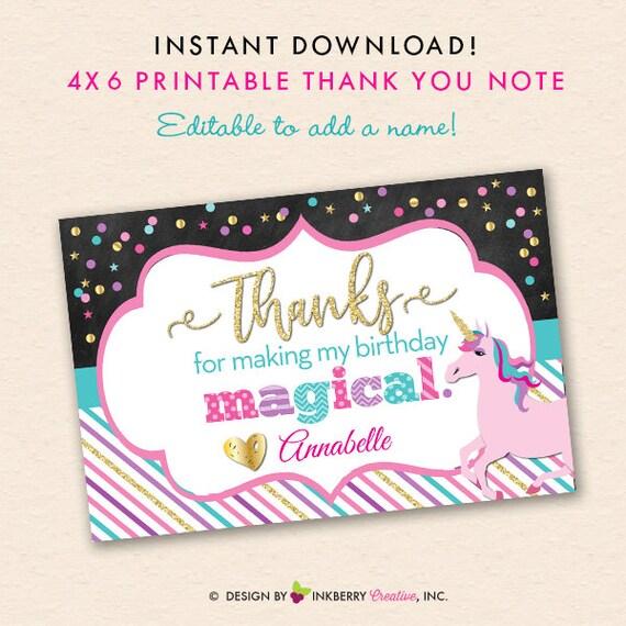 Unicorn Printable Thank You Note Chalkboard Glitter Gold