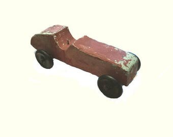 Large vintage handmade race car pull toy - 15 inches long - Wood with rubber wheels - Circa 1930s to 1940s - Rustic