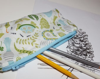 Boy Pencil Pouch, insect print, children, soft profile, Zipper bag, art pouch, travel pouch