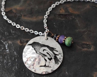 Gemstone and Raven Necklace