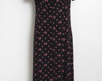 1990s GAP Maxi Dress / Black Rayon Floral Print Button-down w/ Empire Waist  / 90s Vintage Festival Dress