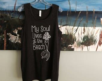 Beach, Coverup, mermaid, summer outdoors, tri blend, cover up, Beach shirt, tank mermaid, My Soul, vacation shirt, mermaid shirt, for her