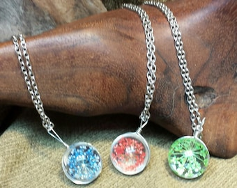 4 Colors ~ Crystal Dried Flower Round Necklace 20x13mm 20""