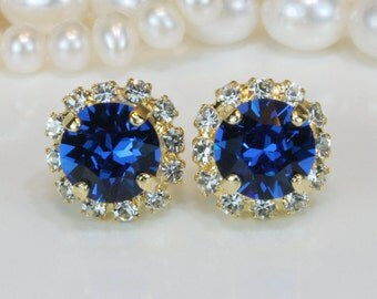 Capri Blue Stud Post Earrings Royal Blue Bridesmaids Bridal Something Blue Wedding Jewelry Swarovski Crystal Clear Halo,Gold,Capri Blue,GE95