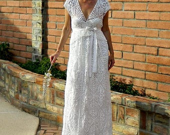 V Neck Wedding Dress-V Neck Dress-Wedding Dress-All Hand Crochet Lace Couture-V Wrap Top & Skirt Pineapple Motif-LaDyLaDuke BrideCollection