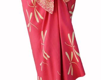 Dragonfly Beach Sarong Batik Women's Clothing Sarong Wrap Skirt Swimsuit Cover Up Beach Skirt Coral Dragonfly Sarong Wrap - Batik Pareo