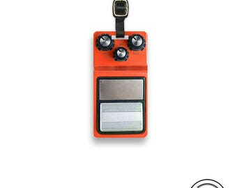 Orange Guitar Pedal Custom Luggage Tag Single Tag with Personalized Information on the back , Strap included.
