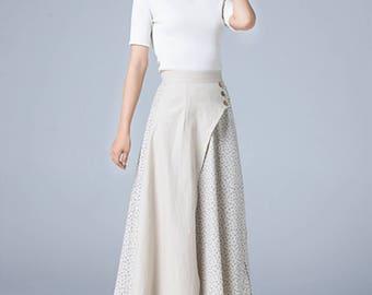 floral skirt, block color skirt, maxi skirt, fitted skirt, pleated skirt, A line skirt, full skirt, womens skirts, boho skirt, handmade 1788