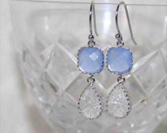 Blue crystal Jewelry,Bridesmaid gift,Pale Blue Earrings,Blue Bridal Earrings,Pastel Blue Drop Earrings,Periwinkle,Bridal,Petite Jewelry,Gift