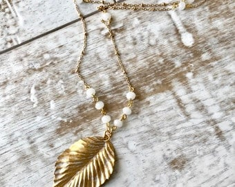 Feather Necklace, Large Gold Feather Necklace, Long Feather Necklace, Pendant Necklace, Feather Pendant