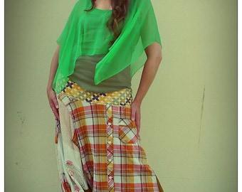 Upcycled Recycled Print Linen,Caramel Corduroy & Autumnal Plaid Cotton Shirt Harem Pants               ReMade in Brighton England UK