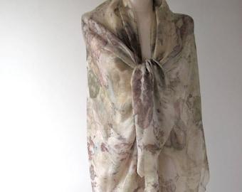 Silk scarf Grey beige scarf ecoprint plant print scarf beige silk scarf women Leaf pattern botanical print Eco dye silk scarf handpainted