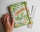 2018 Weekly Planner, Gold Spiral Bound Agenda, Inspirational Illustrated Daily Calendar. Weekly Pocket Planner, Gift for Teen College Girl