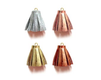 1 Inch - Metallic Tassels, Tassel Charm, Mini Tassels, Leather Tassels, Craft Tassels, Jewelry Tassels, Crafting Supply, Rose Gold Tassels
