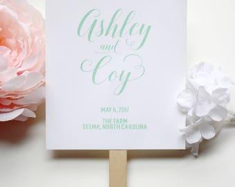 Mint Wedding Programs, Green Fan Programs, Wedding Fan Programs, Beach Fan, Fan Wedding Program - The Jocelyn Mint Wedding Fan SAMPLE