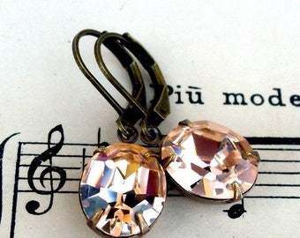 MOVING SALE On Sale Soft Blushing Peach, Estate Style ,Vintage  Swarovski Oval Crystal Jewel Earrings by Hollywood Hillbilly