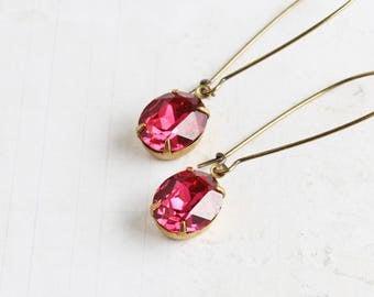 Dark Pink Oval Rhinestone Drop Earrings on Antiqued Brass Hooks (Vintage Rhinestones)