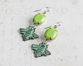 Rustic Green Patina Bee Earrings with Lime Green Oval Rhinestones