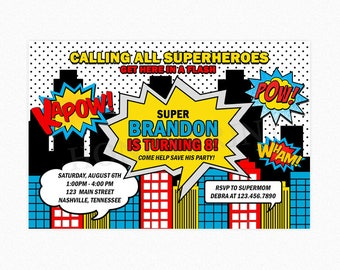 Superhero Birthday Party Invitation, Superhero Invitation Boy, Calling all Superheroes Invitation, Printable or Printed