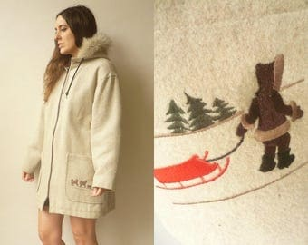 Vintage Canadian Wool Eskimo Parka Hooded Coat With Fur Trim & Embroidery Size Large