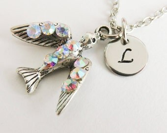 Personalized swallow necklace, initial necklace, personalized jewelry, bird charm necklace, gifts for her, sparrow jewelry