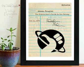 Douglas Adams, Hitchhikers Guide to the Galaxy, Vintage Library Card Art, Book Art, Silhouette Print