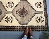 """vintage Persian rug, rustic moody earth tones rug, happy bohemian wool rug, 6'1""""x3'2"""""""