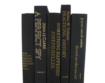 Goth Bookshelf Decor with Black Vintage Books