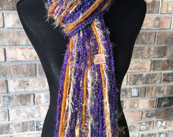 LSU Scarf Tigers Inspired Skinny Scrappy - Violet and Gold - Handmade