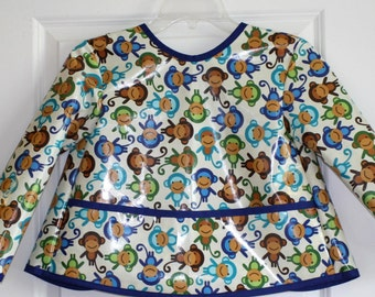 Toddler Baby Long Sleeved Art Smock Painting Smock with Monkeys
