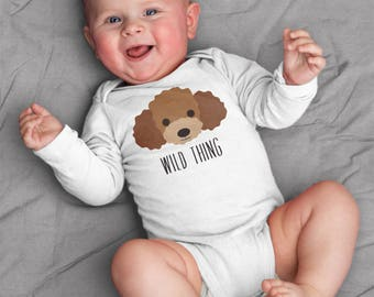 Baby clothes, Poodle baby bodysuit for baby boy or baby girl, baby shower gift