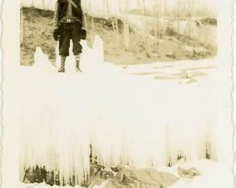 "Vintage Photo ""The Winter Walker"" Snapshot Antique Black & White Photograph Found Paper Ephemera Vernacular Interior Design Mood - 81"