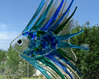 Large fused glass fish chimes