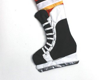 Hockey Skate Stocking- Calgary Canadian hockey Christmas stocking
