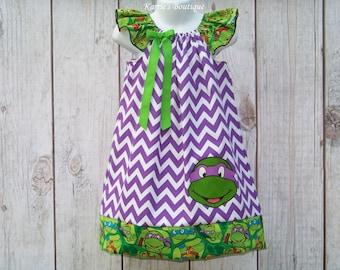 Teenage Mutant Ninja Turtle Dress / Donatello / TMNT / Super Hero / Birthday / Newborn / Infant / Baby / Girl / Toddler / Boutique Clothing