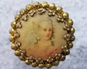 Antique Lady Portrait Woman Head Picture Button ~ Litho Lithograph under Celluloid ~ Prong Set in Brass ~ Waistcoat Button ~ 11/16 inch 15mm