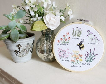 Flowers for Bees - Embroidery Hoop Art - 5 inches wide