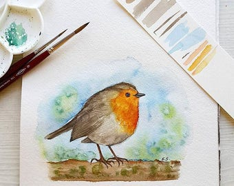 Original watercolor painting Robin Bird watercolor wall art Cute small songbird spring decor