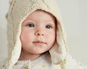 Baby Beanie hat, White Knit Wool Hat, Kids Pom Pom trapper hats, Bobble hat pompom children's gift, Ecru Undyed Merino Winter Autumn Beanie