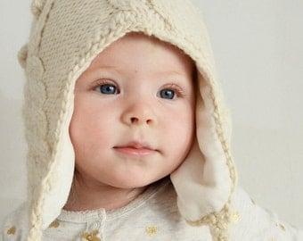 Baby Beanie hat, White Knit Wool Hat, Kids Pom Pom hats, Bobble hat pompom children's gift, Undyed Merino Winter Beanie