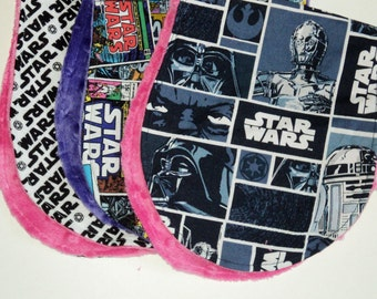 Star Wars Baby Girl Or Boy Burp Cloth Set, Star Wars Burp Pads With Minky Or Terry Cloth, Geek Baby Gift, Nerd, Baby Shower, Made To Order