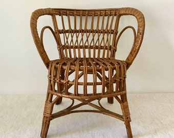 Vintage Natural Rattan Child's Chair, Franco Albini Style