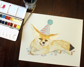 """Fennec Fox, Original watercolor painting 11"""" x 14""""  Inexpensive real art for you walls and cute too! """"Fen the Party Fox"""""""