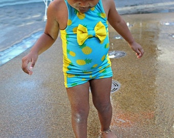 Pineapple Swimsuit - Baby Girl Swimsuit - Toddler Swimsuit - Girls Two Piece Swimsuit - Tankini Swimsuit - Blue Swimsuit - Yellow Swimsuit