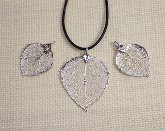 SALE Leaf Necklace, Silver Aspen Leaf, Silver Leaf, Real Leaf Necklace, Aspen Leaf, Boho Necklace, Silver Leaf Pendant, SALE338