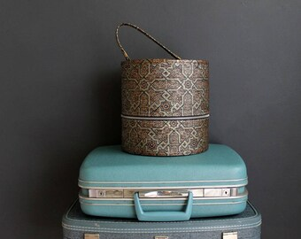 Vintage Wig Case Vinyl Geometric Tapestry Pattern Hat Box Brown and Black Luggage Hair Salon Decor