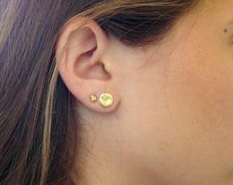 Tiny Diamond Stud Earrings, Small Diamond Stud, 18k Yellow Gold Earrings, 2K Minimalist Earrings Cloud Unique Diamond Earring, Diamond Star