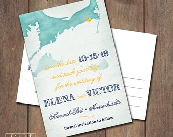 Save the Date Postcard, Save Our Date Postcard, Destination Wedding, Cape Cod Custom Map Save the Date Postcard - PRINTABLE files - STD07