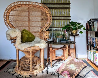1970s Emmanuelle Woven Rattan Peacock Chair Large Rattan Chair Wicker Chair Iconic Fan Back Bohemian Chair Peacock